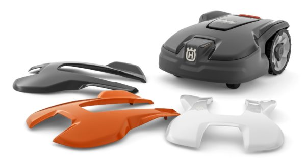 Automower 305 with replaceable top covers in 3 colours (grey, orange, white)